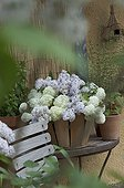 Bouquet of flowers of snowball bush and lilac in a basket