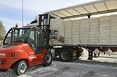 Unloading a truck of newspapers in a paper millFrance ; Storage of recycled paper. Packaging for liquid food. Manufacture of recycled wrapping paper