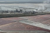 Aerial view of the Soda factory of Magadi Southern Kenya ; The Soda factory of Magadi which extract soda ash also called trona. The soda ash is treated locally and sodium bicarbonate is exported worldwide.