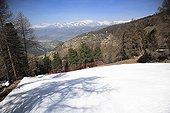 Snow-covered runway in spring resort Chandolin Switzerland