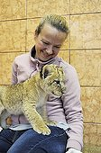 Lion cub in the lap of a woman Zoo Belgrade Serbia ; The Belgrade Zoo specializes in the conservation of species of white or albinos and particularly white lions, a subspecies extremely rare.