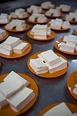 Tofu cut into cubes in a stall plates of Malaysia