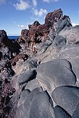 """Different lava flows on the island of El Hierro Canary ; The red lava """"aa"""" and black, pillow lavas"""