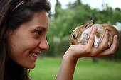 Girl holding a young rabbit in his hand Provence France