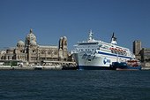 Ferry in the Marseille harbour in France ; And Cathédrale Saint Marie Majeure