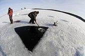 Ice Diver preparing Ice Hole, White Sea, Karelia, Russia