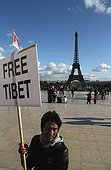 Free Tibet demonstration at Trocadero Paris France