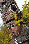 Detail of a Gitxsan totem Kitwanga British ColumbiaCanada