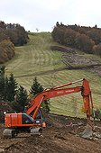 Earthworks on the ski slopes Vosges France ; Work to host a stage of the Tour de France in July 2012.<br>Altitude: 1148 m