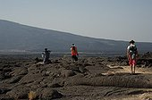 Tourists supervised by militia down a volcano Ethiopia  ;