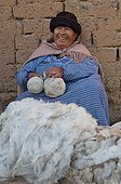 Raw alpaca wool in a market in El Alto in Bolivia