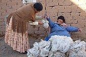 Alpaca wool on a gross market in El Alto in Bolivia