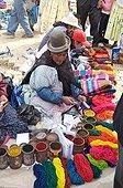 Sale of Alpaca wool in a market El Alto Bolivia