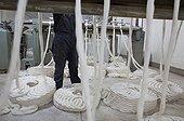Alpaca wool spinning in crude workshops Coproca Bolivia