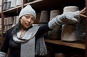 Alpaca wool coils in gross workshops Coproca Bolivia