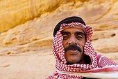 Portrait of a Bedouin in the desert of Wadi Rum Jordan