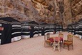 Captain's Desert Camp in the desert of Wadi Rum Jordan ; Bedouin camp for tourism