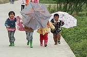 Children returning from school in rural Yunnan Jianshui