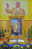Painting of King Bhumibol Adulyadej in Bangkok, Thailand, Asia