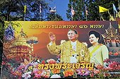 Picture of King Bhumibol Adulyadej and Queen Sirikit in Chiang Mai, Thailand, Asia