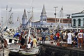 """Fishing harbour, fish market and historic building of """"Ver-O-Peso"""" market in Belem, Para, Brazil"""