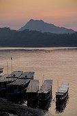 The Mekong River at sunset in Luang Prabang in Laos