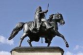 Equestrian statue of King Frederick William III of Prussia created by Gustav Blaeser, Heumarkt square, Cologne, North Rhine-Westphalia, Germany, Europe