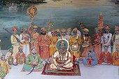 Maharaja of Dungarpur giving an audience with his entourage, Juna Mahal, ancient palace of Dungarpur, Rajasthan, India, Asia