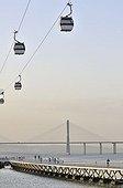 Vasco da Gama bridge, pedestrian bridge and gondolas in the Parque das Nações park, site of the Expo 98, Lisbon, Portugal, Europe