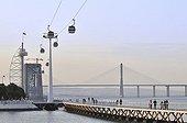 Torre Vasco da Gama tower, bridge and pedestrian bridge in the Parque das Nações park, site of the Expo 98, Lisbon, Portugal, Europe