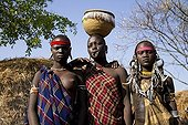 Women of the Mursi ethnic group, famous for the huge lip plates the women are sporting, Mago National Park, near Jinka, Lower Omo Valley
