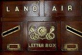Letter box with the emblem of the Scindia rulers, Heritage Hotel Taj ushan Kiran Palace, Gwalior, Madhya Pradesh, North India, India, Asia
