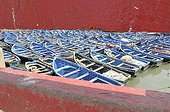 Blue fishing boats in the harbour, Essaouira, Morocco, Africa