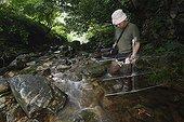 Observation de Salamandre géante du Japon dans une rivière ; Le chercheur Sumio Okada s'est intéressé à l'existence des différentes classes d'âges dans un même cours d'eau et tente de comprendre quels sont les critères qui font d'un cours d'eau un lieu favorable à la reproduction et au développement des salamandres. Grâce à la télémétrie les mouvements des animaux sont consignés et analysés.