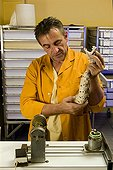 """Viper venom extraction in a laboratory France ; Character : Frank Principaud <br>""""Latoxan"""" laboratory animal toxins and poisonous animals"""