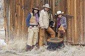 Family cowboys in Wyoming USA ; Cowboys : Ramon Castro, Marisela Castro et Brayan Castro