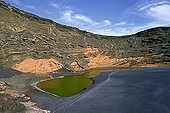 Salty laguna on the El Golfo volcano in the Canary Islands