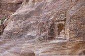 Sandstone sculpture in the city of Petra in Jordan