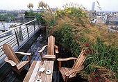 Garden terrace on the rooftop of a building in Paris  France ; Landscapers: A. Maurières & Eric Ossart