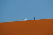 Moonrise on a dune and Tourist Deadvlei Namibia