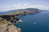 Landscape of the eastern tip of the island of Madeira ; High and steep cliffs overlooking the sea more than 180 meters high.
