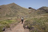 Hiker on a path on the island of Madeira
