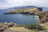 Landscape of the eastern tip of Madeira ; High and steep cliffs overlooking the sea more than 180 meters high.