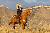 Cowboy in the prairie The Hideout Guest Ranch Wyoming USA ; Elizabeth Wolfson