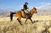 Cowboy in the prairie The Hideout Guest Ranch Wyoming USA ; Ramon Castro