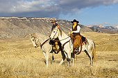 Cowboys in the prairie The Hideout Guest Ranch Wyoming USA ; Tom Bercher, Rebecca Bercher