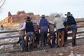 Cowboys group The Hideout Guest Ranch Wyoming USA ; Rebecca Bercher, Augustus Bercher, Tom Bercher, Ramon Castro, Irvin Flora, Brayan Castro, Semus Bercher