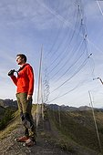 Nets to capture banding Bretolet Pass Swiss Alps ; Each year between 10 and 20 000 birds of 100 species are catch and ring the Col de Bretolet<br>Biologist : Yves Botsch