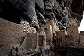 Mil attic in a cliff Teli Dogon Mali  ; Symbolic paintings on the walls