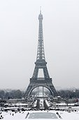 Eiffel Tower in the snow from the Trocadero Paris France